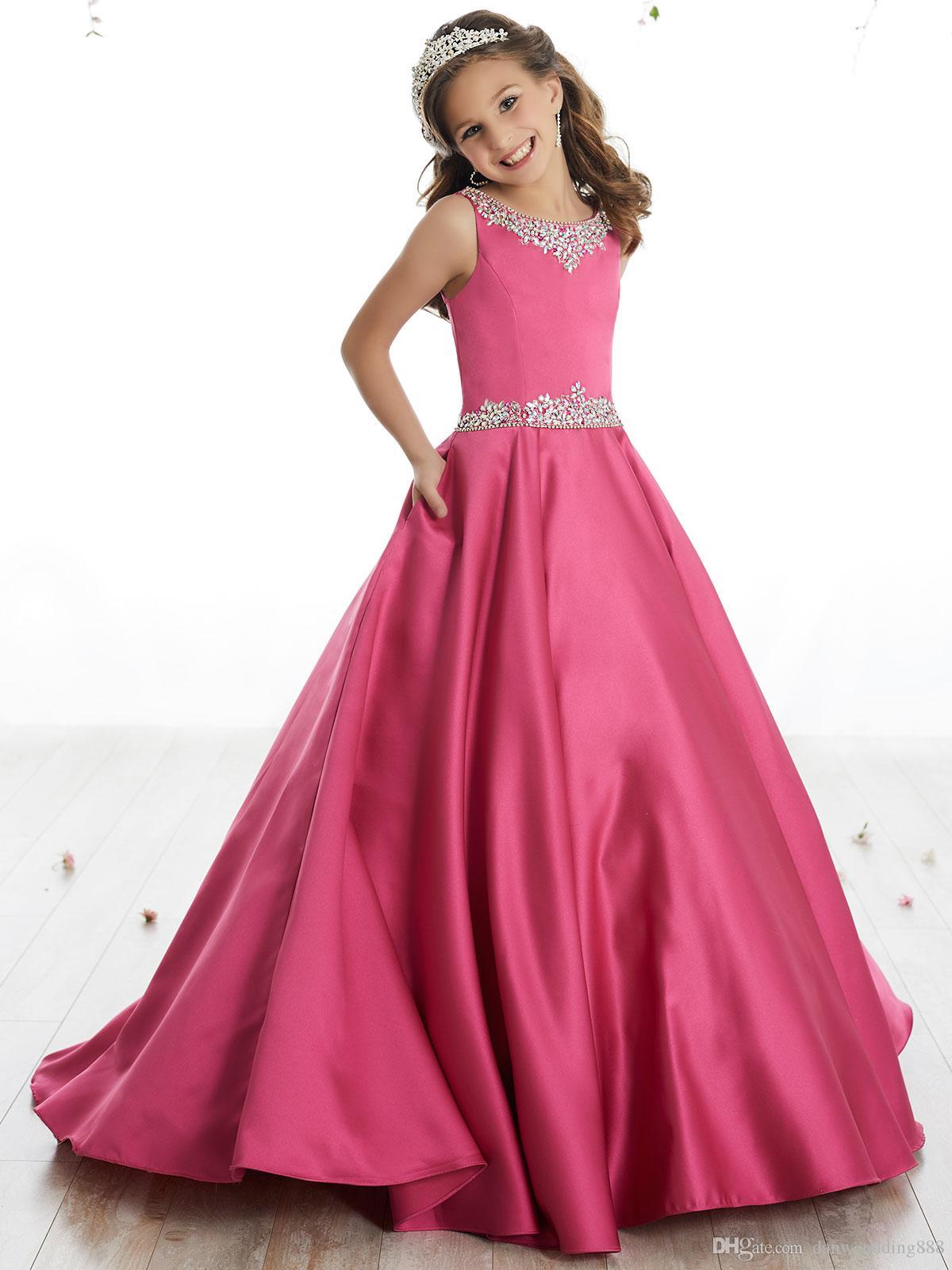 Compre Belleza Rose Satén Joya Beads Vestidos De Niña De Las Flores ...