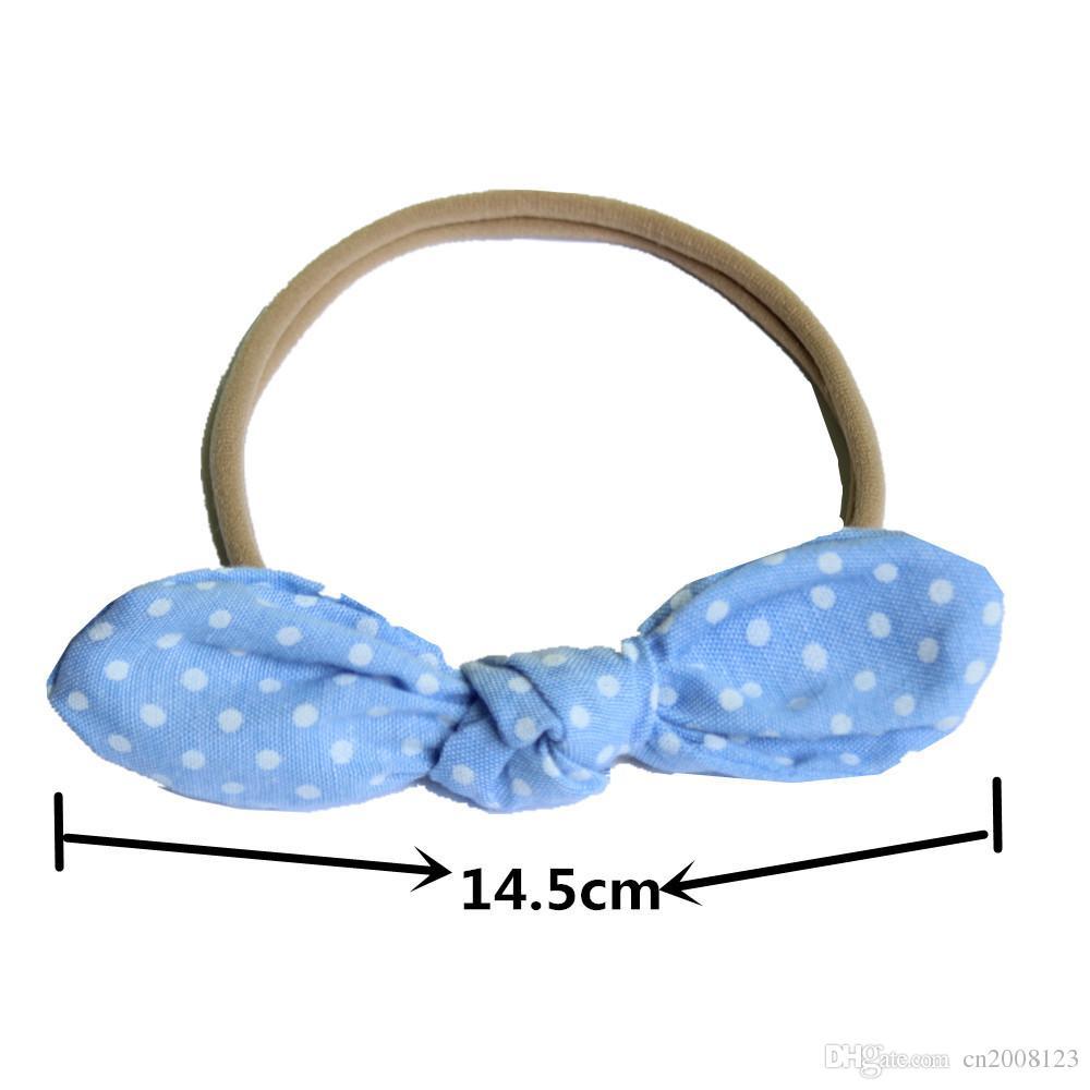 Neue Ankunft Baby Mädchen Nylon Bogen Headwear Stirnbänder Bunny Ohr Elastische Blume Stirnband Kinder Kinder Haarschmuck Karierten Haarbänder