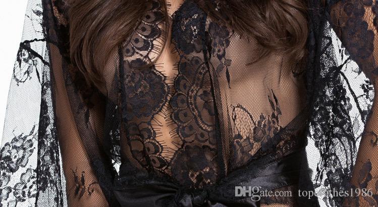 جديد حار جودة عالية شفافة الخفافيش كم المرأة مثير للنوم مثير ملابس النساء مثير رداء ثوب أبيض أسود m l xl 31018
