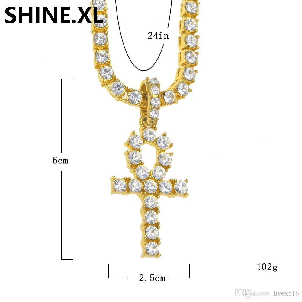 Mens Iced Out Hip Hop Diamante Artificial de Ouro Ankh Cruz Lab Diamante 1 Row Tênis Cadeia de 24 Polegadas Que Bling Jóias