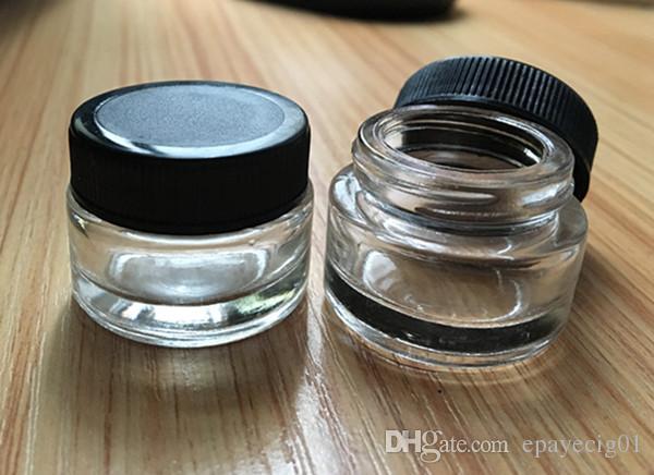 frasco de vidrio contenedor 3g 3ml logotipo personalizado claro cera dab contenedor mini pequeño frasco cosmético con tapa negra