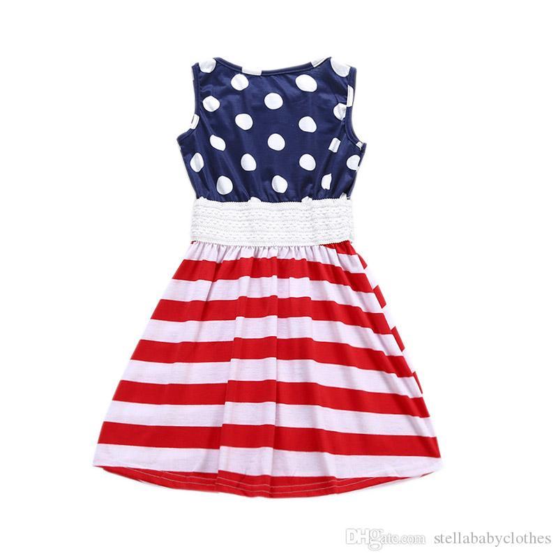 4. Juli Kinder Mädchen Kleid Modische Gestreifte Baby Party Kleider Sommer Kinder Boutique Kleidung Kostenloser Versand