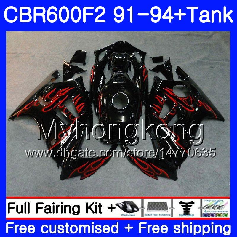 Body For HONDA CBR 600F2 FS CBR600RR CBR600 F2 91 92 93 94 1HM.75 CBR600FS CBR 600 F2 CBR600F2 1991 1992 1993 1994 Fairing kit Red flames