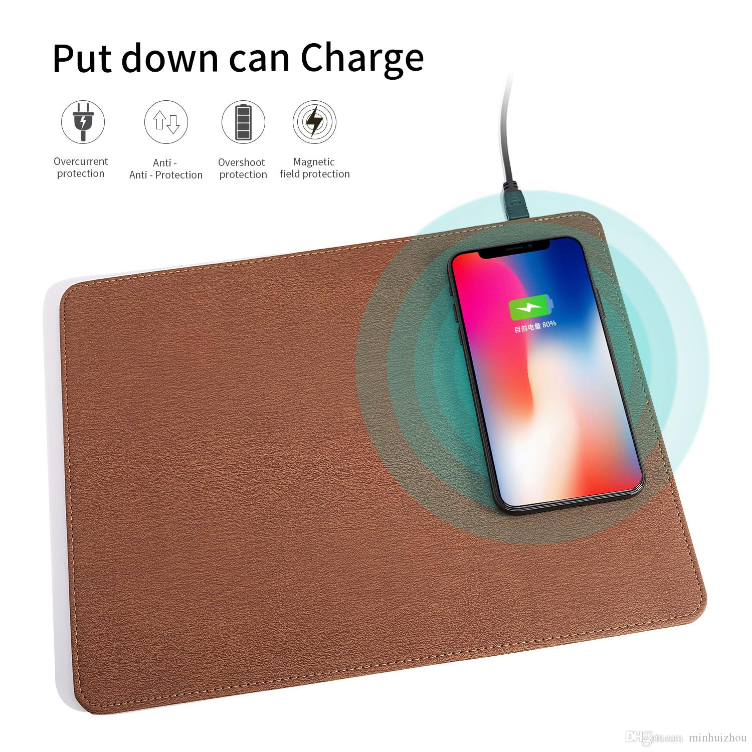QI wireless charger mouse pad fast charging CE RoHS approved PU leather mouse charge pad universal for iPhone Samsung Qi-enabled cell phone