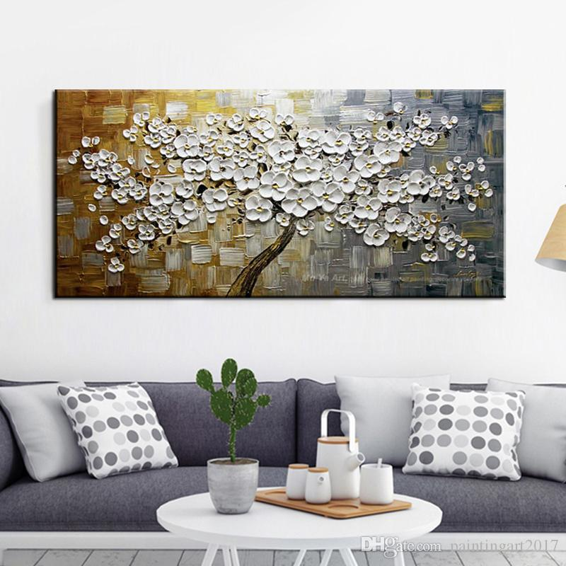 Abstract oil painting on canvas handmade palette knife painting multicolor tree landscape wall pictures for living room