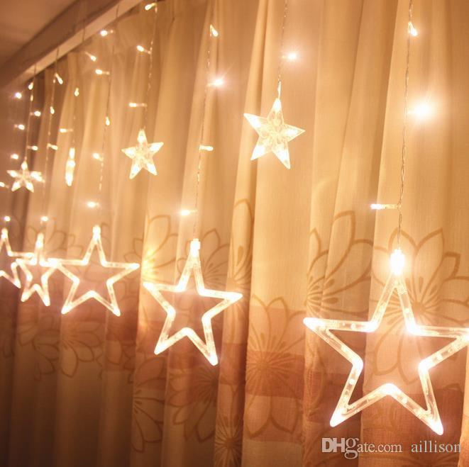 2m led christmas lights star fairy icicle curtain flash light party holiday dtore cmas wedding decoration twinkle light decoration for party decoration