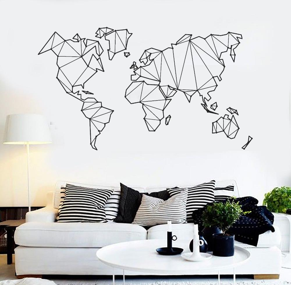 Map Of The World Vinyl Wall Decal Home Decor Living Room Geometric