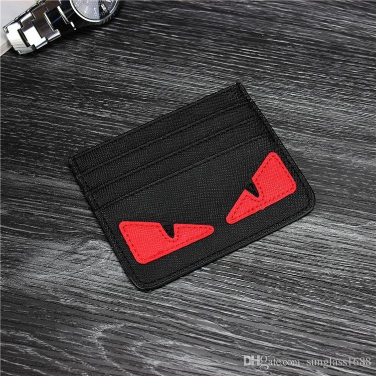 Porta carte di credito ultrasottile di cartone animato Porta carte di credito donne degli uomini di moda Piccoli mostri Portafoglio sottile di carte d'identità Borsa da tasca Portafoglio in vera pelle