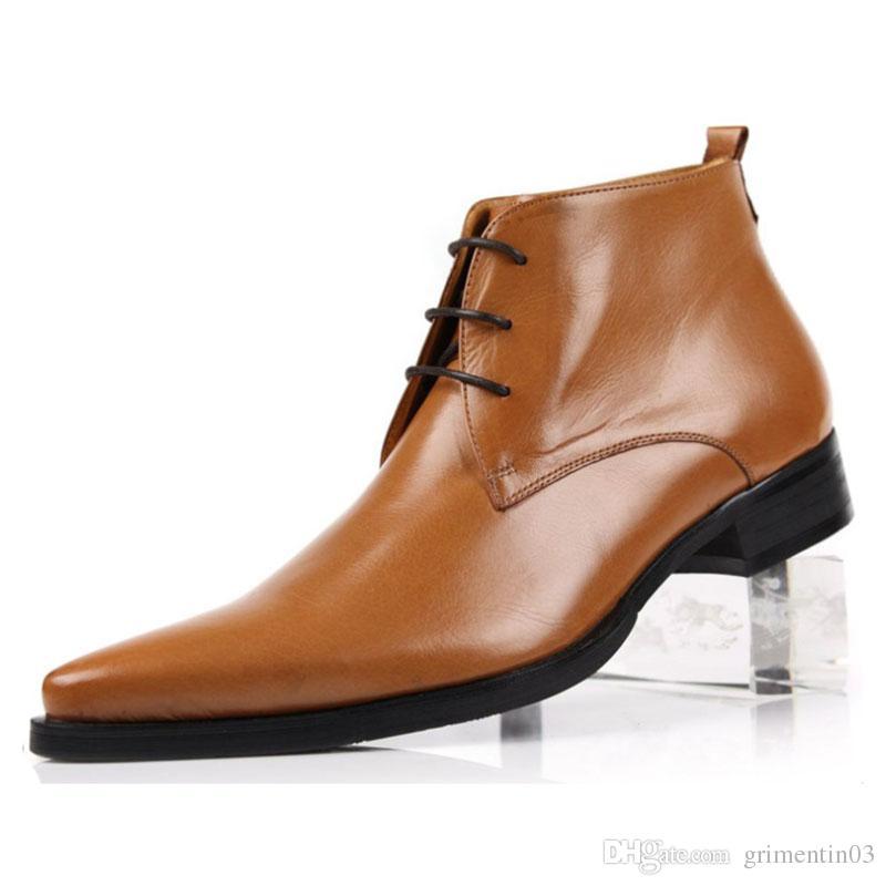 GRIMENTIN Vente Chaude Italienne Mode Hommes Bottes En Cuir Véritable Noir Orange Formelle Cheville Bottes Marque Robe De Mariage De Grande Taille Hommes Chaussures