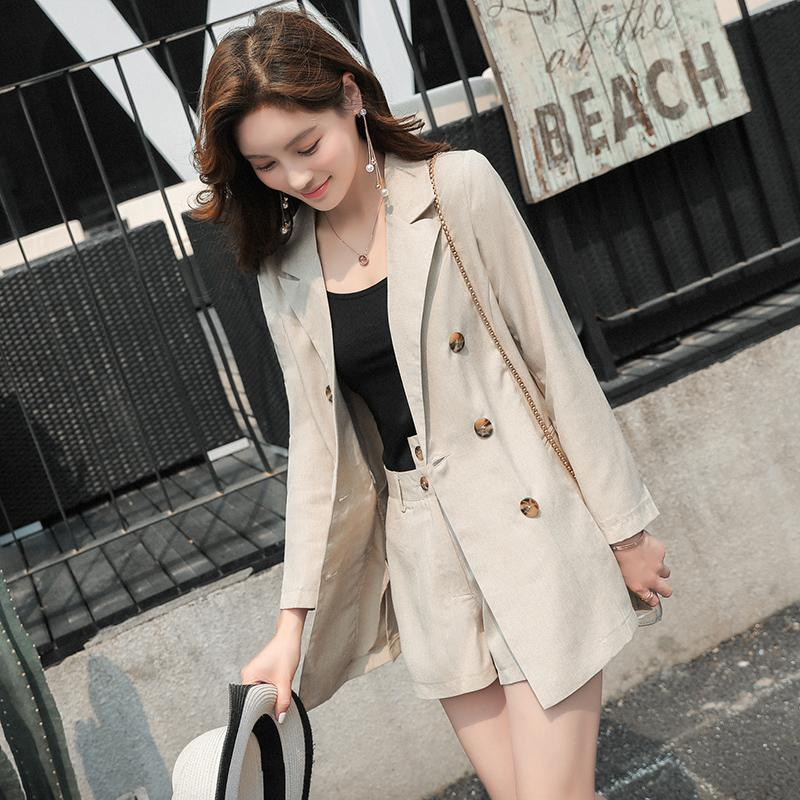 2019 Thin Short Pant Suits Women Double Breasted Notched Jacket