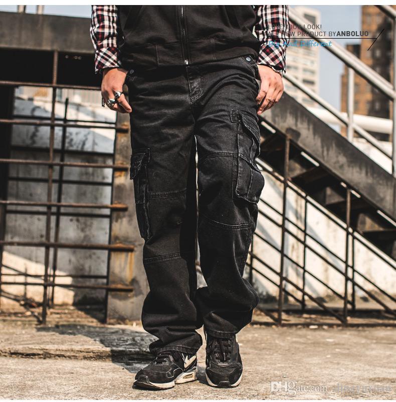 Großhandel Japan Stil Plus Größe Mens Denim Cargohose Jeans Männer Baggy  Lose Schwarze Jeans Mit Seitentaschen Große Größe 38 40 42 44 46 Von  Dingyuxuan, ... 9aa9fd9074