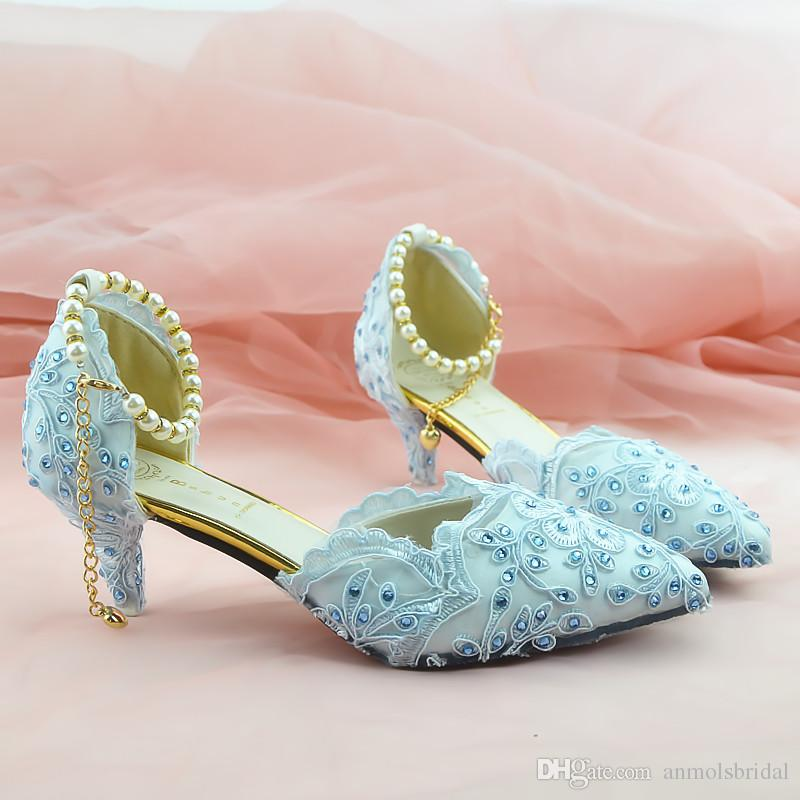 79486ecbff1 Aqua Blue Beaded Shiny High Heels Lady S Shoes Women Sandals Bridal Evening  Prom Party Club Bridesmaid Shoes With Pearl Straps 016 Formal Wedding Shoes  Fun ...