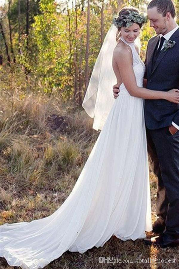 Lace Chiffon A-line Boho Wedding Dresses Halter Backless Sexy Outdoor Simple Elegant Beach Wedding Gowns Discounted Custom Made