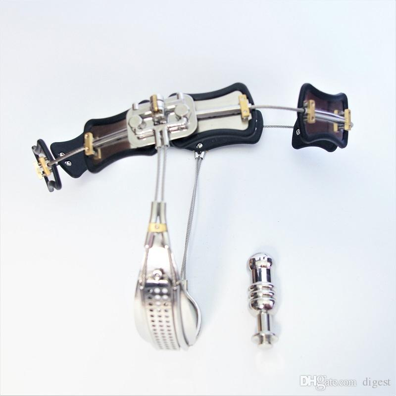 2018 Adjustable Size Stainless Steel Female Chastity Belt, T-type Chastity lock, Chastity Device, Adult Game Sex Toy with Vagina Plug