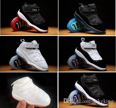 half off 473d7 6520a 11 XI Space Little Baby Boys Girls Toddlers 11s Jam Shoes Gamma Concord  Bred Pre-Walkers Sneaker Free shipping size:22-27