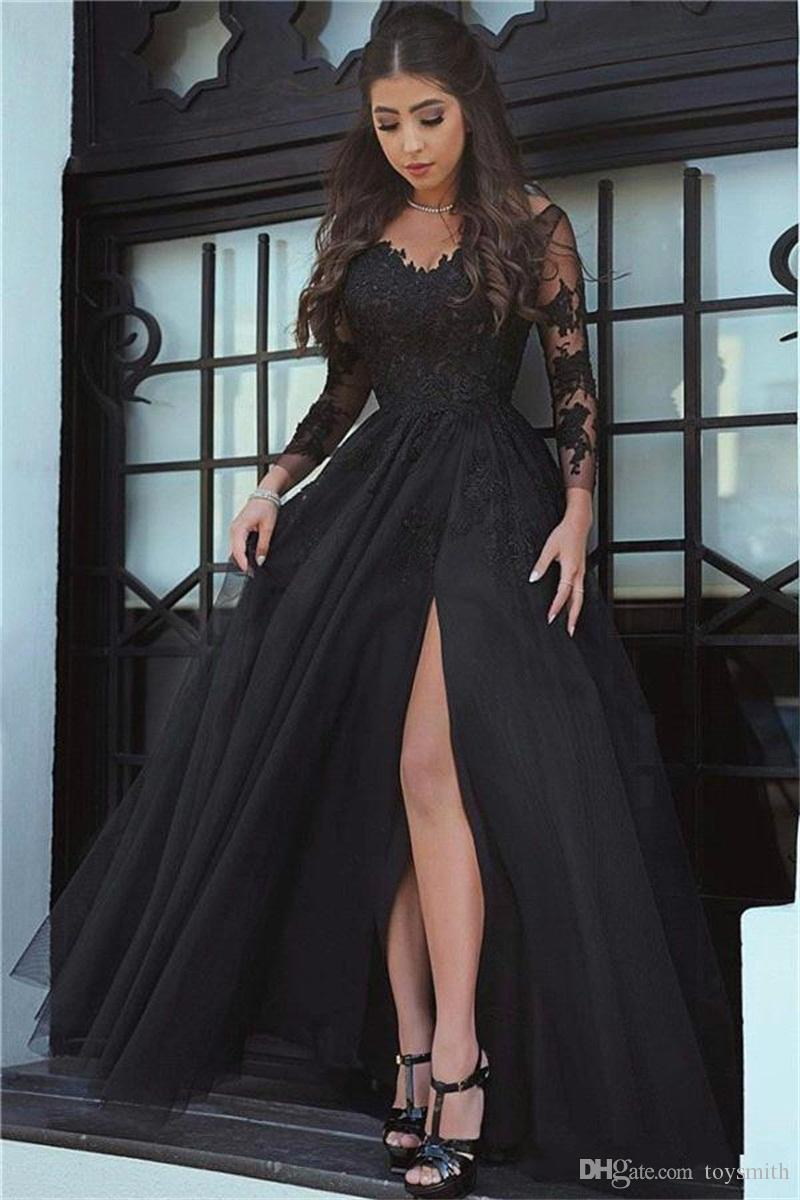2018 New Arrival Sexy Lace Applique A-Line Formal Evening Dress Elegant Said Split Long Sleeve Party Prom Dress