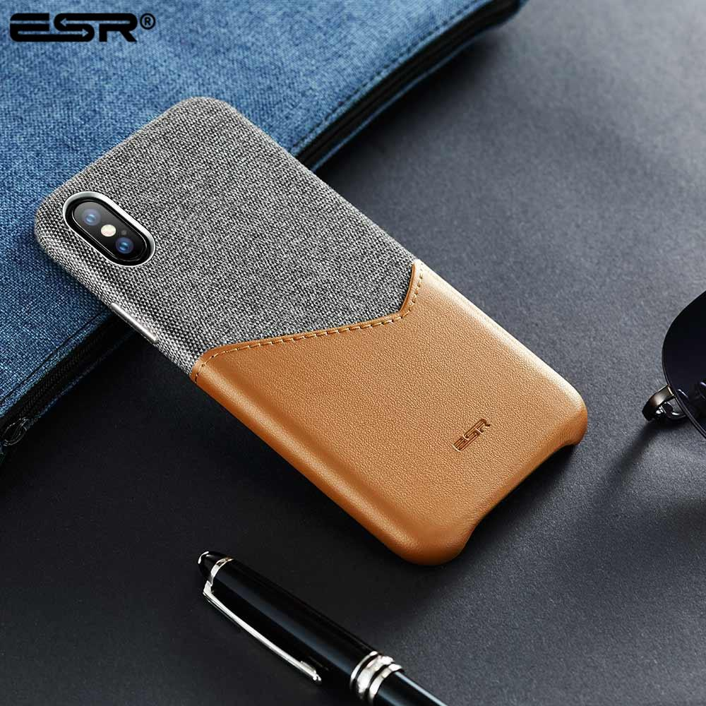 the latest df2b8 0a848 ESR Case for iPhone X XS XR XS Max Cover High Grade Leather with Soft  Fabric Thin Light Card Slot Shockproof Case for iPhone X