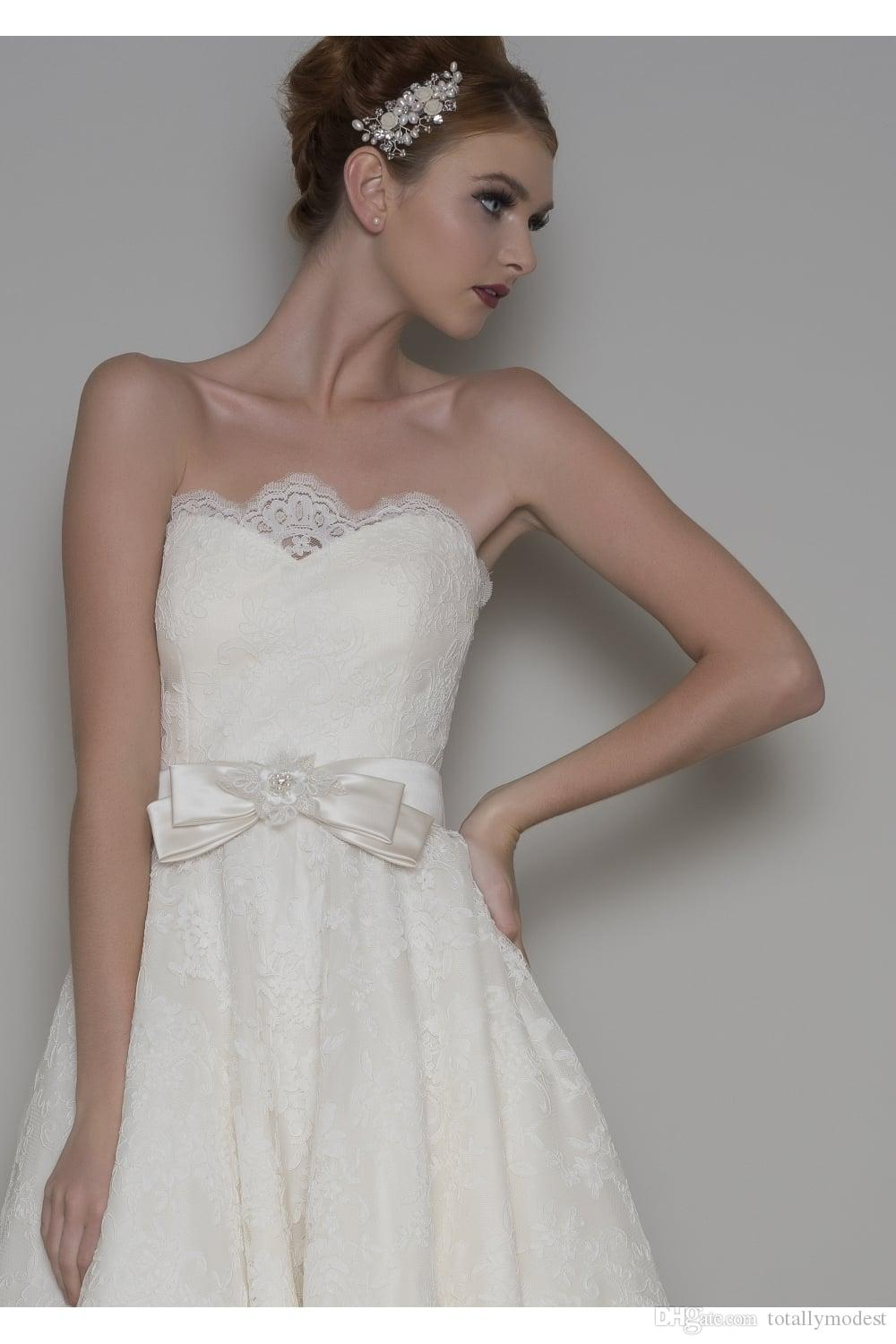 Vintage Lace Tea Length Short Wedding Dresses Sweetheart High Quality Lace A-line Informal Rustic Bridal Gowns For outdoor Wedding