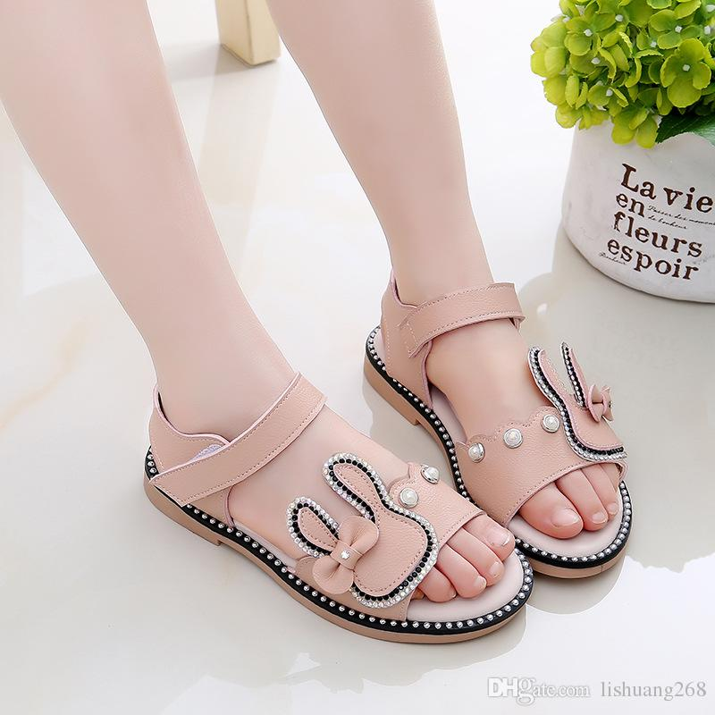 f2afd24e958a 2018 Summer Baby Girls Shoes Princess Flat Sandals Kids PU Leather Cartoon  Bunny Casual Sandals Summer Fashion Children Student Shoes Slippers  Childrens ...
