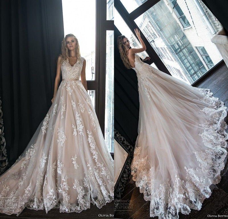 e364a19c1013 Discount 2018 New Designer Blush Pink Lace Wedding Dresses V Neck Low Back  Vestidos De Noiva Court Train Bridal Gowns A Line Dresses Bridal Gown From  ...