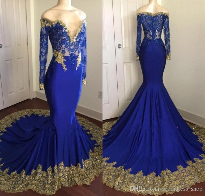 825dc4384373a 2019 Gorgeous Royal Blue Mermaid Prom Dresses with Gold Appliques Sheer Off  Shoulders Illusion Long Sleeves Beaded Crystal Evening Gowns