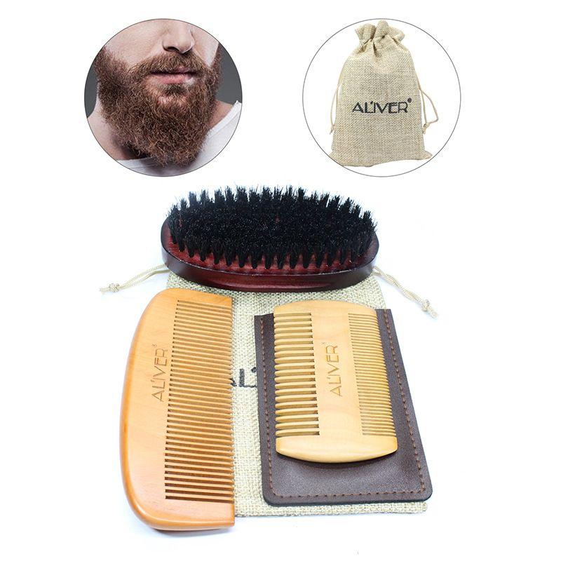 HOT 3pcs/set Men Beard Combs Set Wild Boar Mane Tweezers Double sided Comb  Shape Tool 15*10*6CM