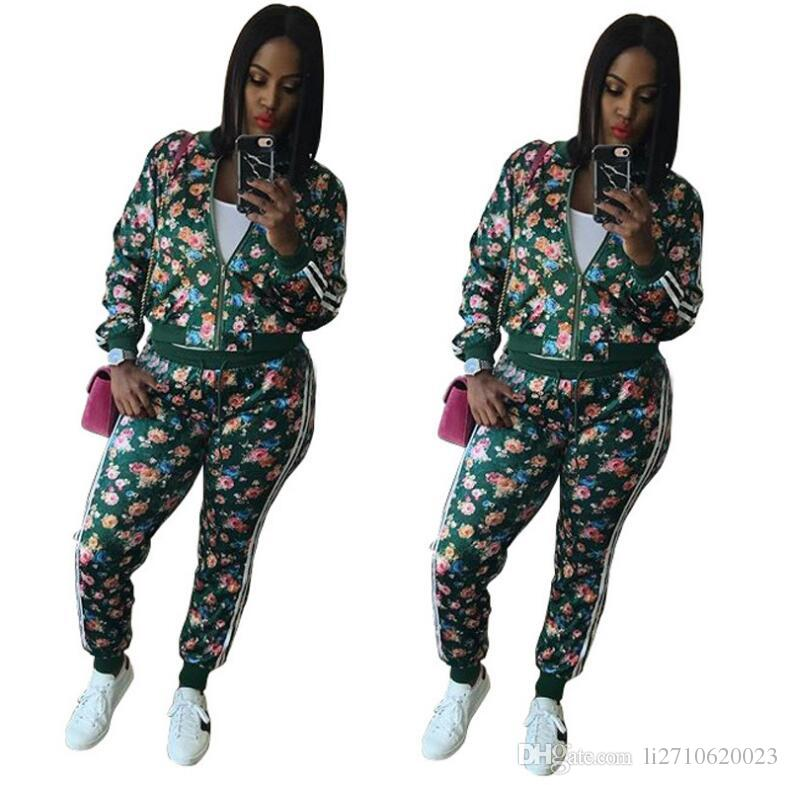 63aee09f98a3 2018 Womens Tracksuits Two Piece Set Long Sleeve Floral Printed Zipper  Jacket Crop Top + Pants Jogger Suits Women Sport Suits