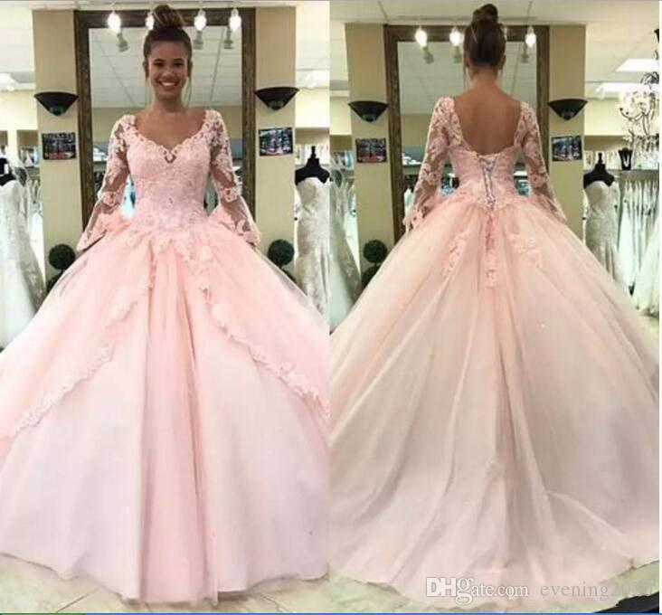 93a8eef189e Pink Lace 2018 Quinceanera Dresses Ball Gown Scoop Long Sleeve With  Appliques Sexy Back Special Occasion Dresses Graceful Prom Dresses La  Glitter ...