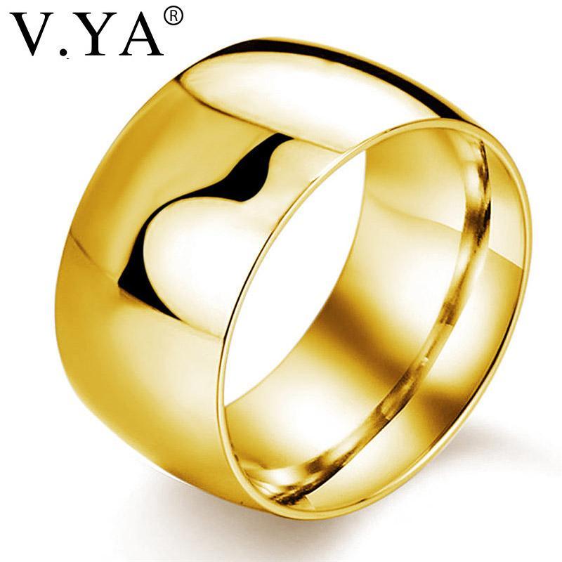 269c6fa45c12 Compre V.YA Clásico Anillos De Boda Para Hombres De Oro   Negro   Plata De Acero  Inoxidable De Color Joyería De Moda Engement Finger Ring Male Cool Charms A  ...