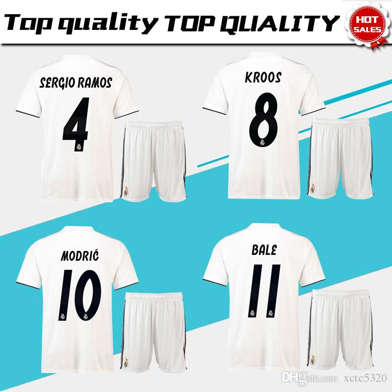 030c04adffa Real Madrid home Soccer Jersey suit 18/19 Real Madrid white Soccer Shirt  kit 2019 #11 BALE #22 ISCO ASENSIO football uniform jersey+shorts