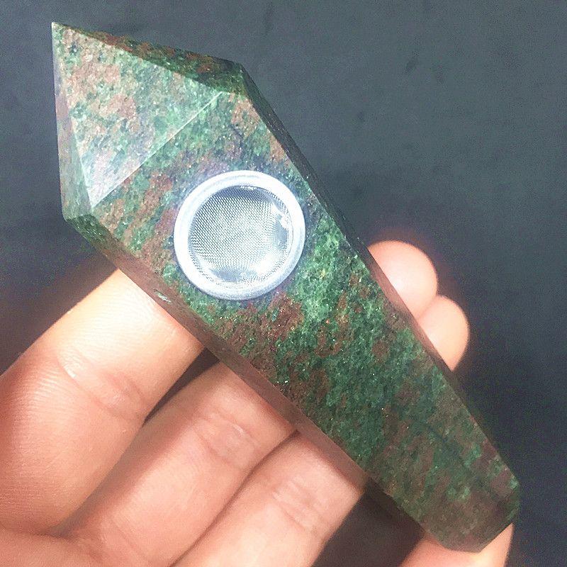 Beautiful Red green treasure Stone Dot Natural Quartz Crystal wand Pipes Smoking Pipes Stone Smoke Filter Wand Wholesale