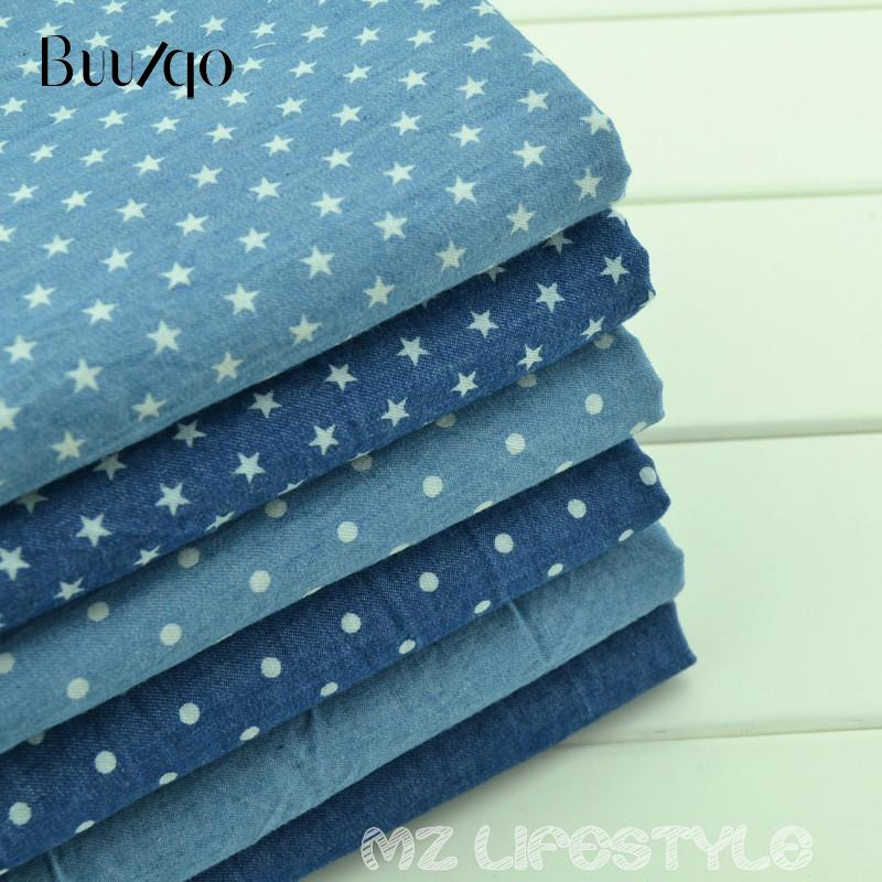 e28975a3f2 CALDO! Tessuto denim di cotone 50 * 145 cm di mezzo metro per la stampa di  cotone blu jeans tessuto per abbigliamento cucito moda fai da te materiale