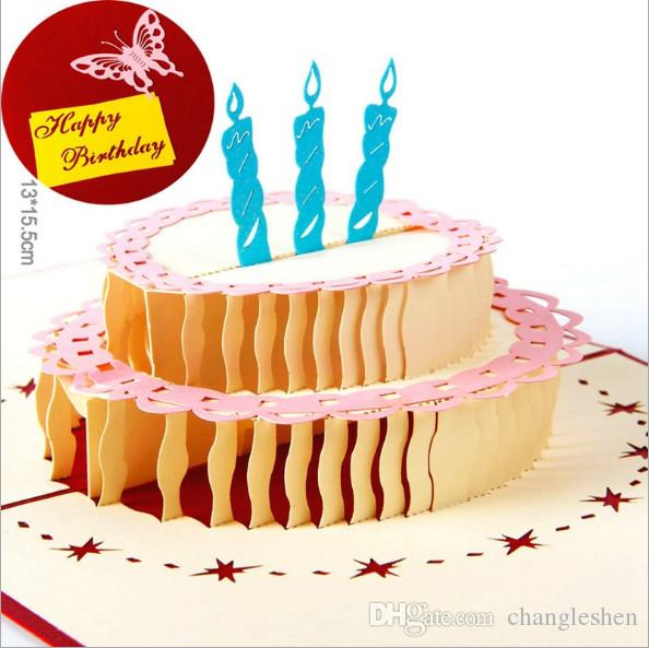 Brand New Birthday Party Decorations Creative Card Stereo Greeting 3D Gift Gorgeous Cake Free Cards