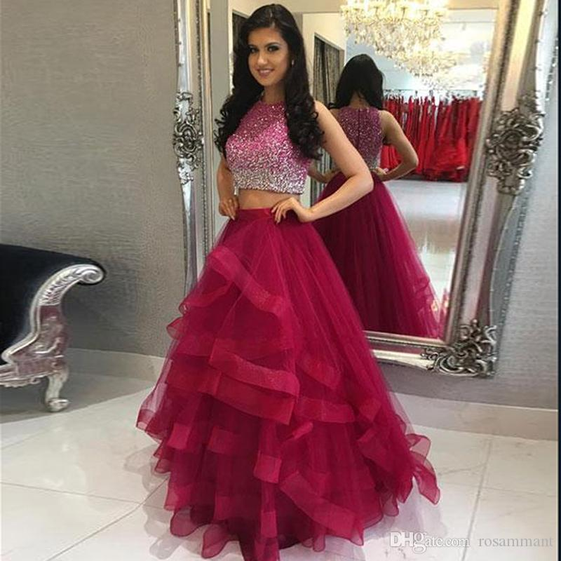 b147295f6b255 2018 New Arrvial Ball Gown Two Piece Prom Dresses Organza Beaded Graduation  Party Dresses Banquet Gown