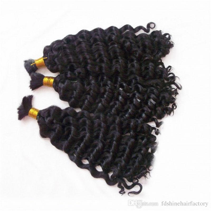 Deep Wave Hair Bulk Unprocessed Raw Indian Human Hair Bulks For Weaves Extensions Braiding for FDSHINE