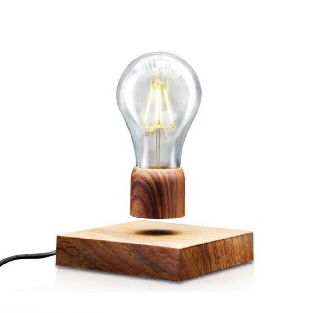 Vintage Magnetic Floating Lighting Bulb Wood Color Base Led Lamp ...
