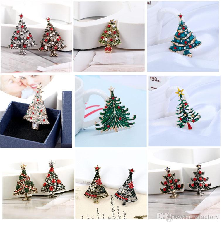 2018 antique silver gold christmas tree brooch colorful enamel tree broches gift jewelry decorative pins fashionable brooches from wfactory 121 dhgate - Antique Silver Christmas Decorations