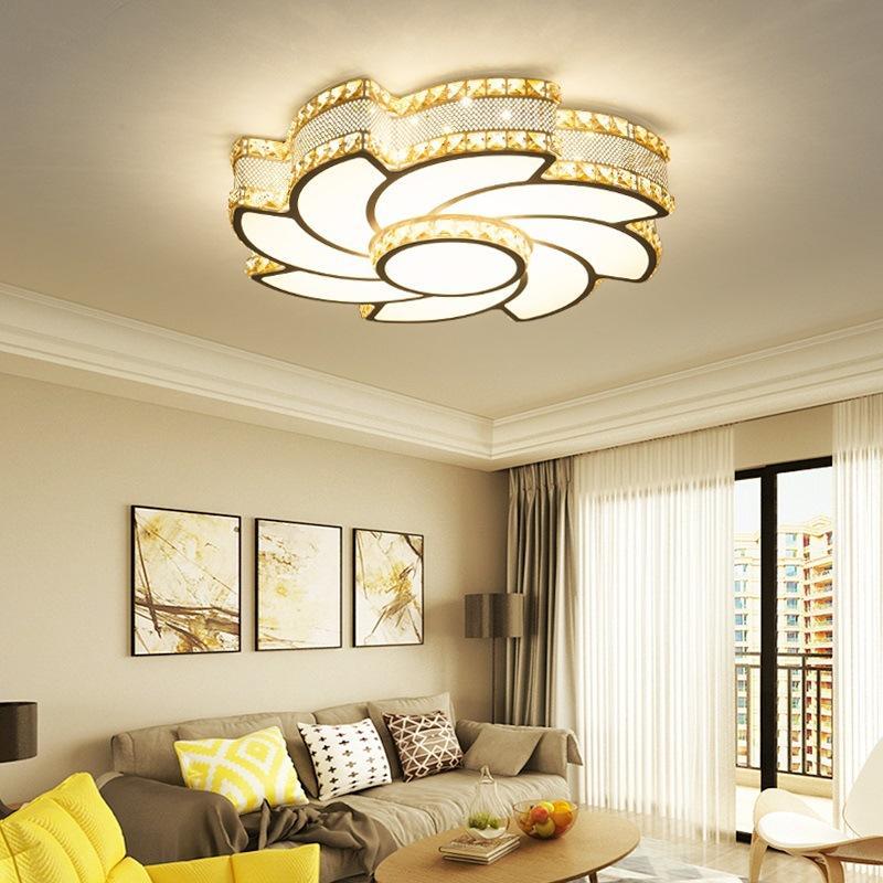 grosshandel moderne einfache wohnzimmer lampen eisen kunst individualitat fuhrte deckenleuchte schlafzimmer neue runde atmosphare kristall deckenleuchten von