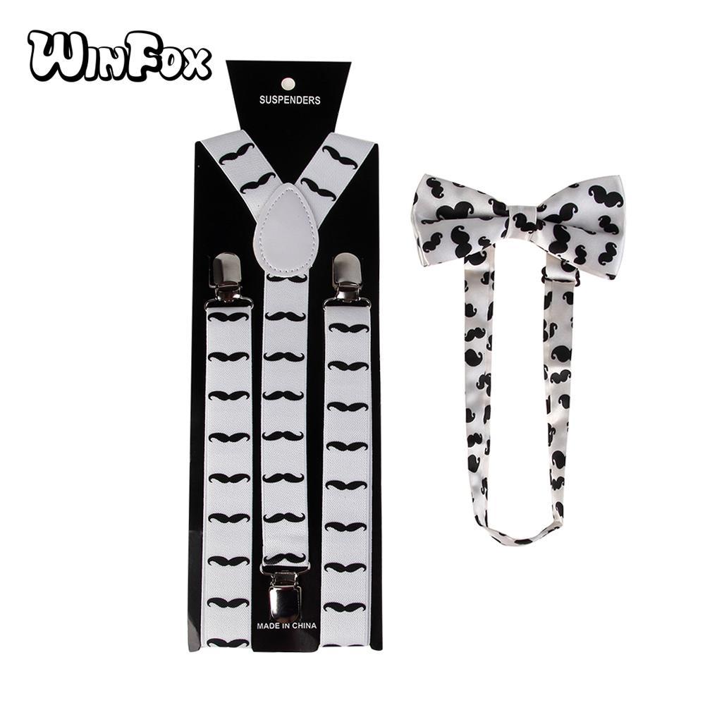 a80d3acff Winfox Fashion Adjustable Unisex White Black Moustache Print Bow Tie ...