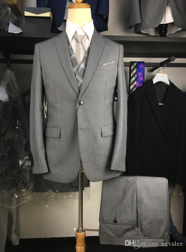 cc366453fb 2019 Gray Suits Men Slim Fit Brand Latest Coat And Pants Vest Designer Suit  Set Formal Dress Men High Quality From Nevalee, $116.76 | DHgate.Com