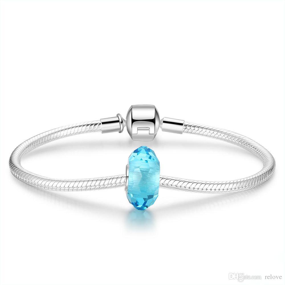 Las perlas sueltas más nuevas del grano del encanto del cristal de Murano de la plata esterlina 925 ajustan las pulseras europeas del encanto de la joyería de Pandora