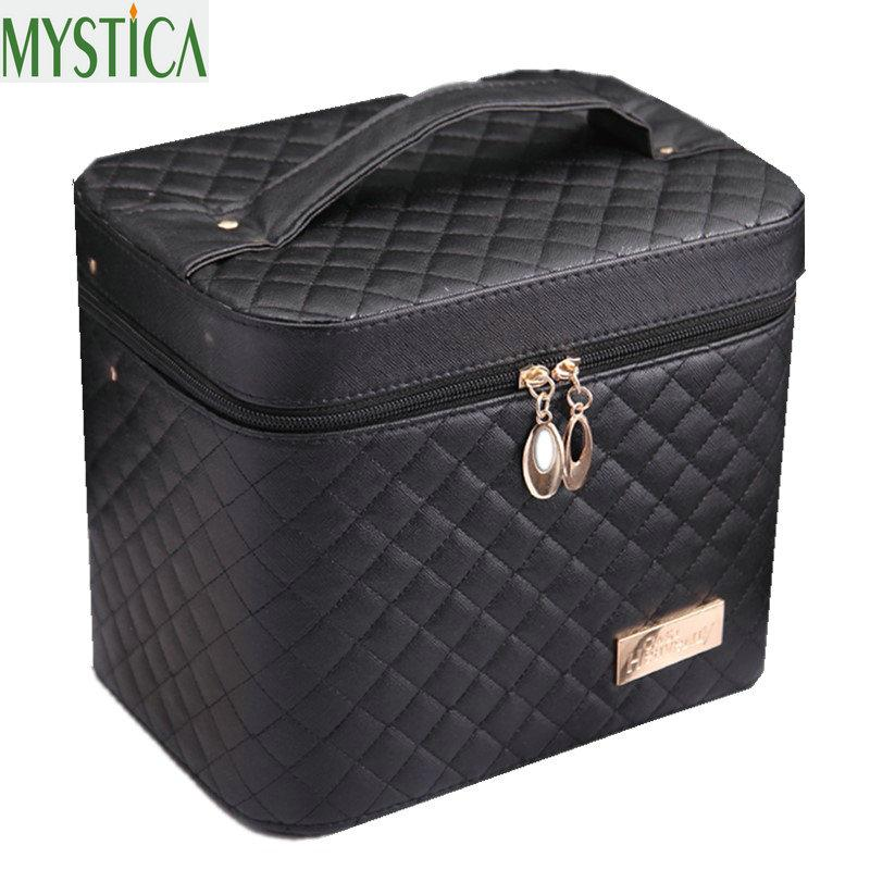 2018 Cosmetic Box Female PU Professional Cosmetic Organizer Case Women's Large Capacity Toiletry Storage Box Travel Makeup Boxes