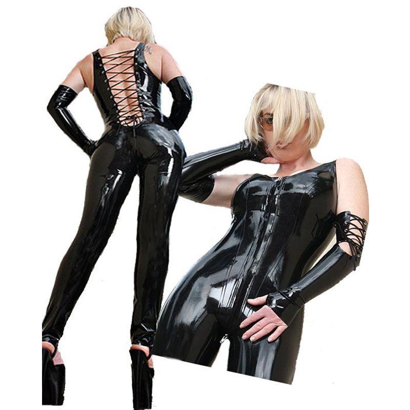 Black Sexy Stripper Clothes Catwomen Sex Women Latex Vinyl Fetish Zentai Jumpsuit Costumes Pole Dance PVC Catsuit Erotic A