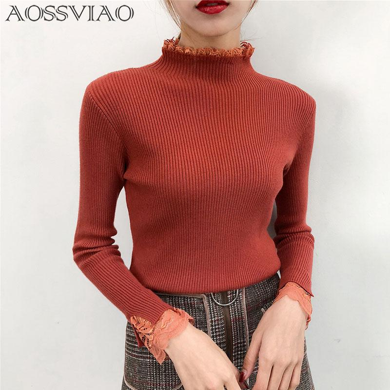 2019 White Knitted Pullover Turtleneck Sweater Women Sexy Elastic Lace Long  Sleeve Knitting Pullover Casual Autumn Winter Jumper From Bevarly 87ccecc6f