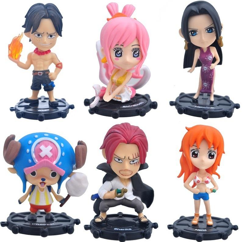 One Piece Ace Nami Shanks Chopper Boa Hancock Shirahoshi PVC Action Figures Collection Model Toys Doll Brinquedos 9cm 6pcs/set