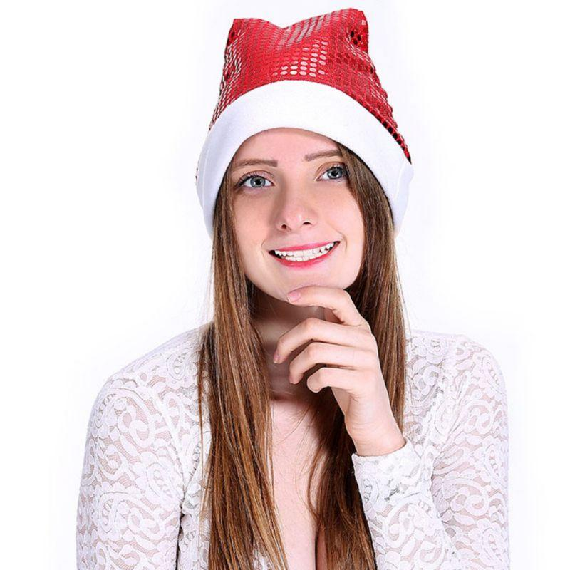 b8210a510ee4d 2019 Top Sale Unisex Warm Red Christmas Gift Sequin Hat High Mesh Christmas  White Brushed Side Hair Ball Hat From Bingquanwat