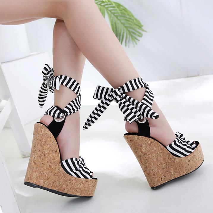 3f3980940c6 16cm Navy Stripes Ankle Wrappy Platform Wedge High Heel Sandals Ladies  Summer Shoes Size 35 To 40 Shoes Uk Flat Sandals From Tradingbear