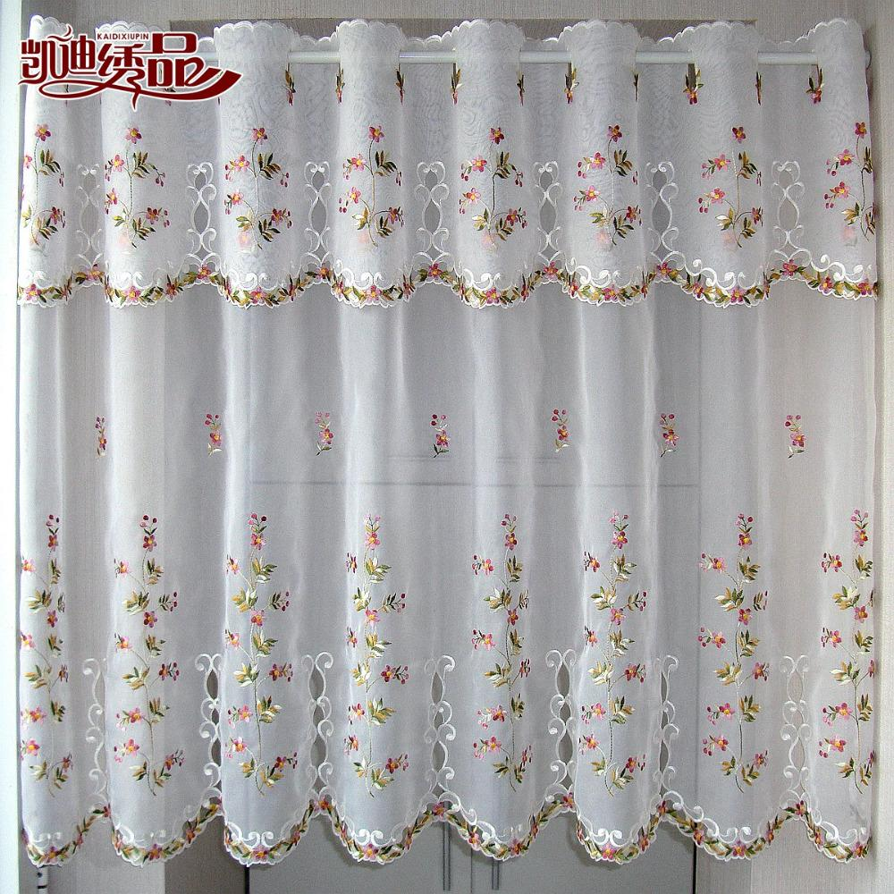 2019 Countryside Half Curtain Luxurious Embroidered Window Valance Wear  Tube Lace Hem Coffee Curtain For Kitchen Cabinet Door A 113 From Greenliv,  ...