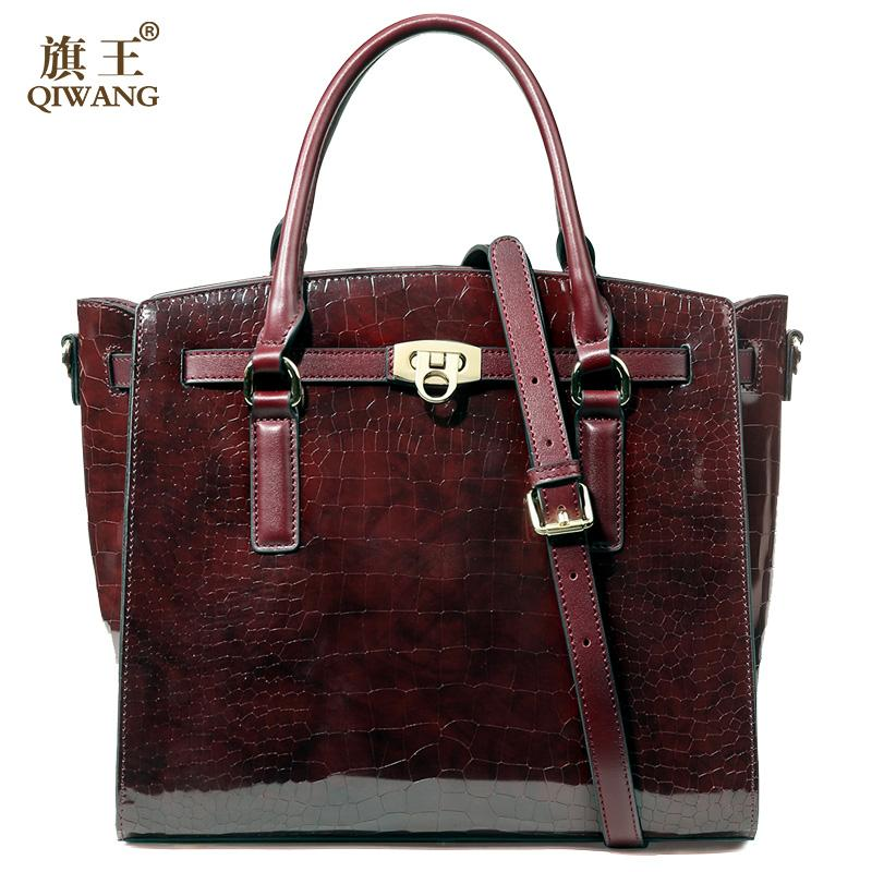 76f60086cc7 ... Qiwang Luxury Patent Leather Burgundy Crocodile Handbag Genuine Leather  Ladies Shoulder Bag Fashion Trapeze Bags Black . ...