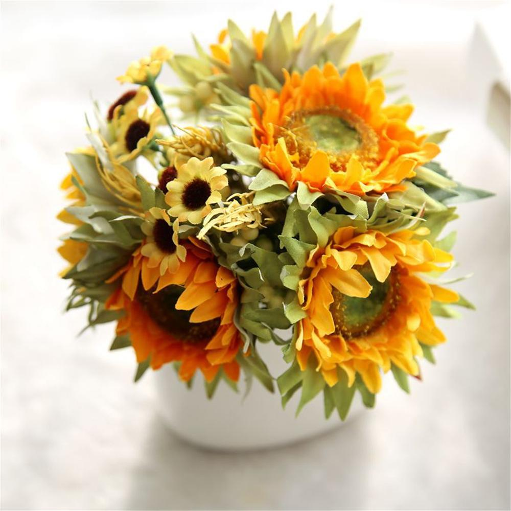 2018 New Artificial Sunflower Fake Silk Flower Bouquet Floral Garden